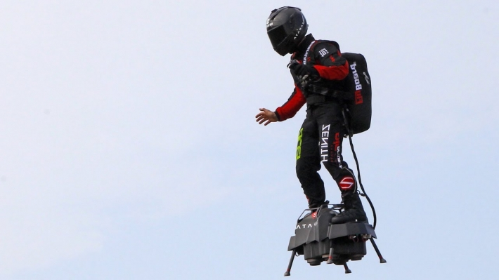 Jet-powered flyboard soldier attempts to cross English channel