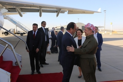 The French president arrived in Erbil