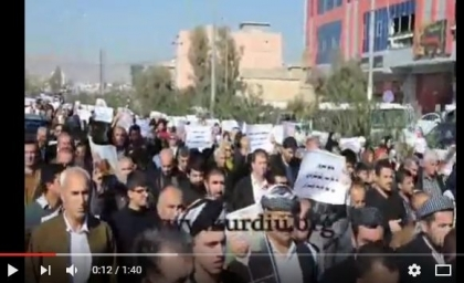 Video ... demonstration of citizens in Sulaimaniya against the assassination of the Islamic preacher Hoshyar Ismail