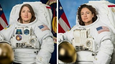 U.S. astronauts embark on the first all-female spacewalk
